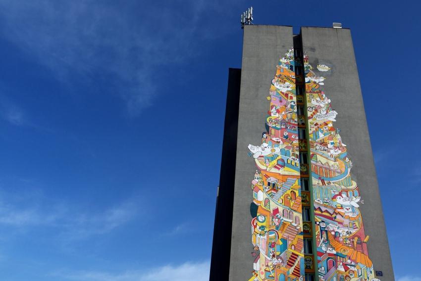 """Murale łódzkie - """"Wieża Babel"""""""